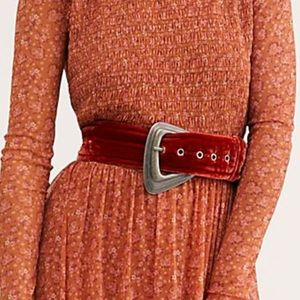 Free People Orange Velvet Belt
